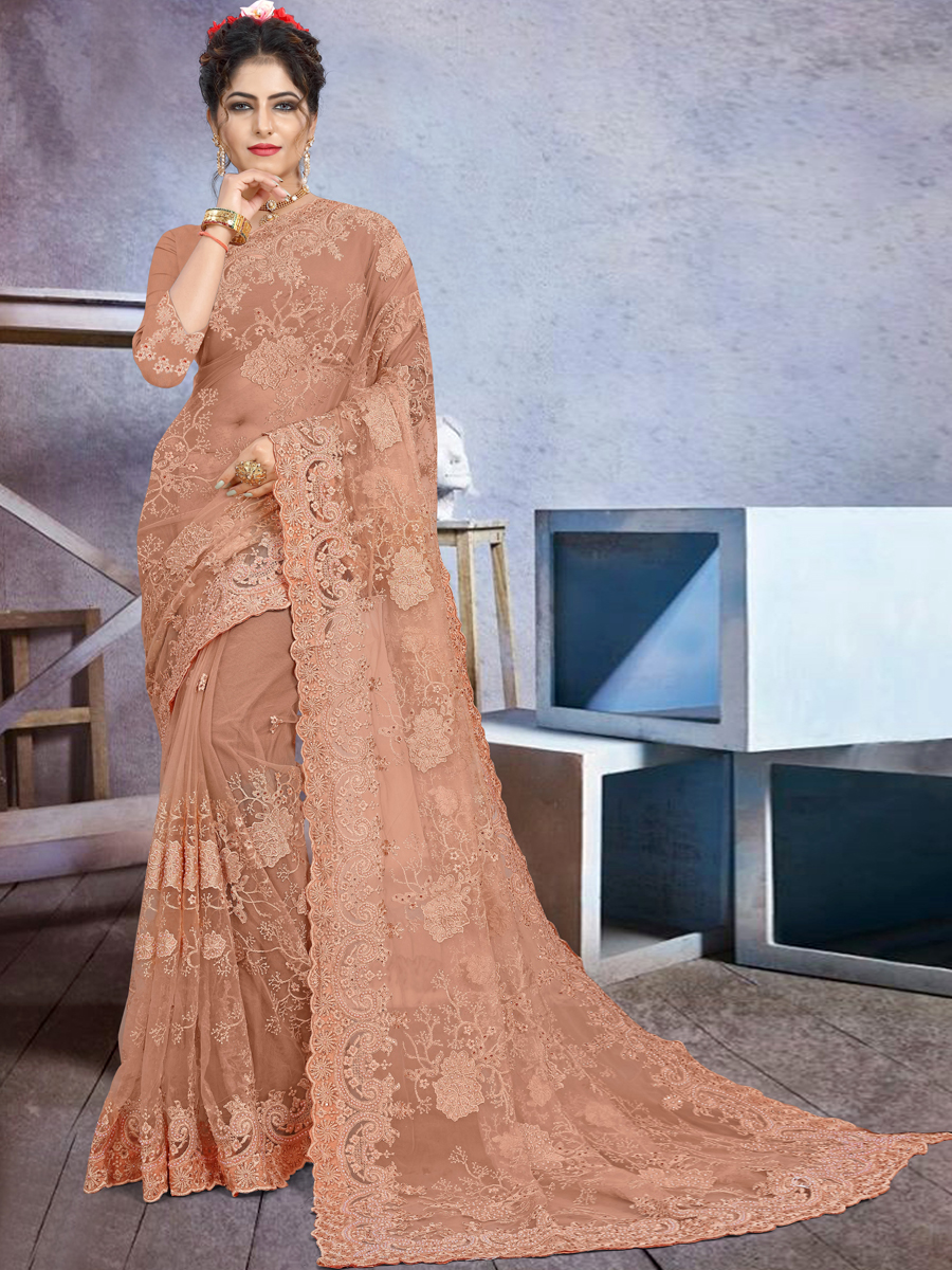 Dark Salmon Orange Net Embroidered Festival Saree
