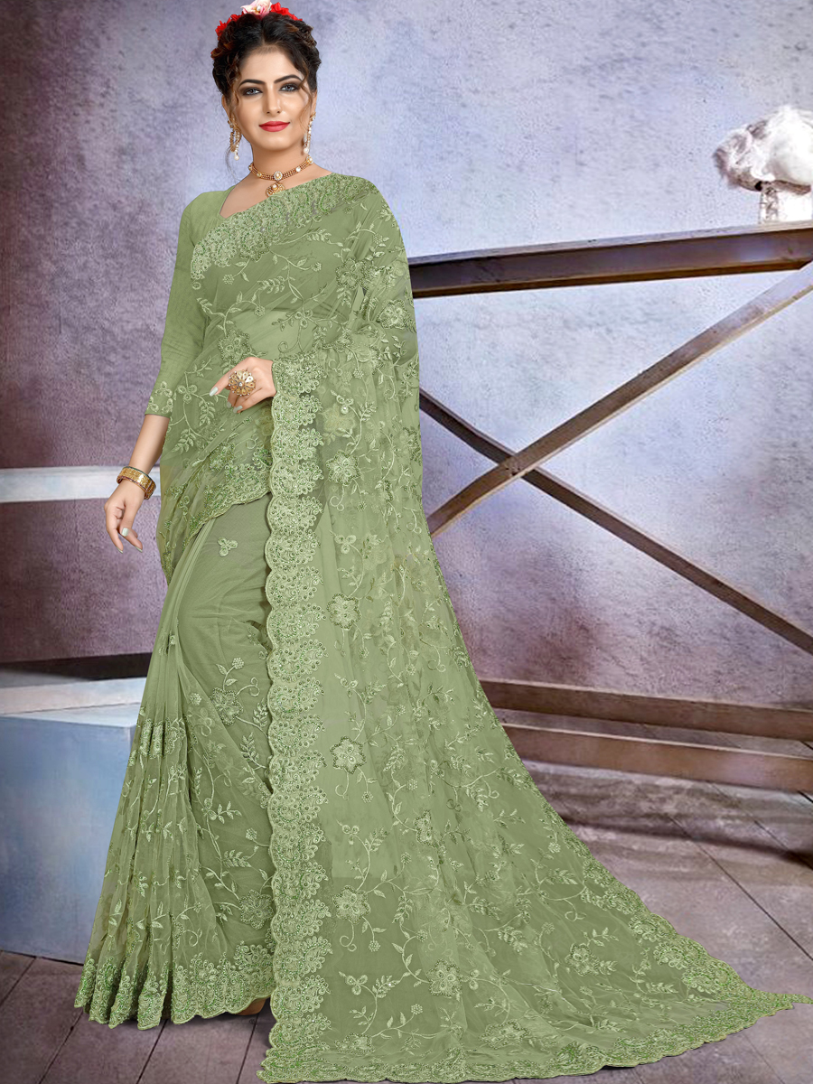 Asparagus Green Net Embroidered Festival Saree