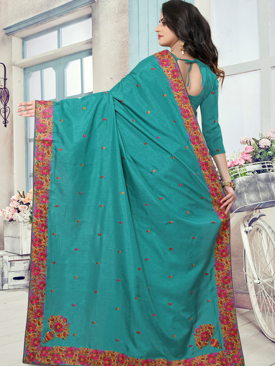 Turquoise Blue Silk Embroidered Festival Saree