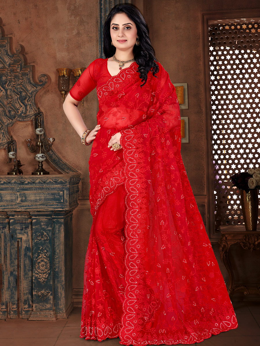 Rose Madder Red Net Embroidered Party Saree