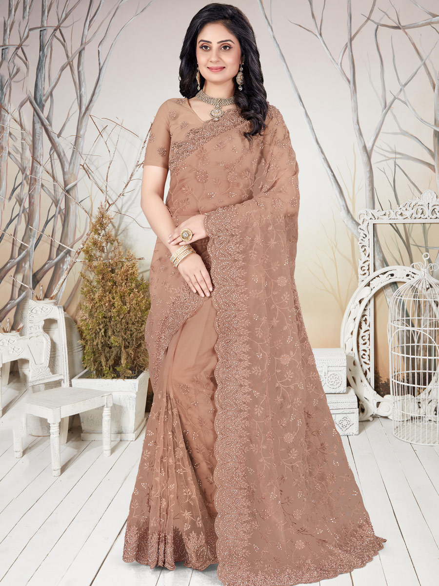 Fallow Brown Net Embroidered Party Saree