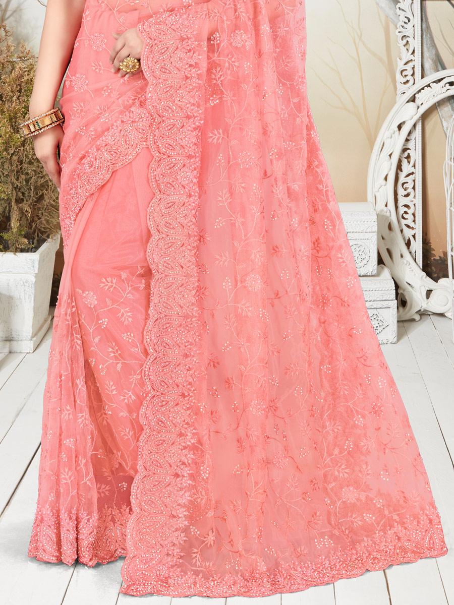 Brink Pink Net Embroidered Party Saree