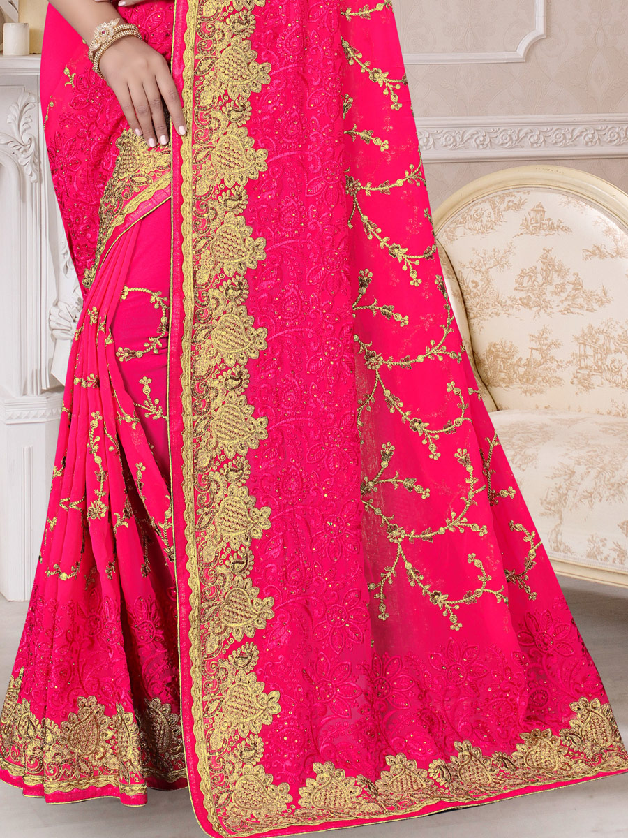 Carmine Pink Faux Georgette Embroidered Festival Saree