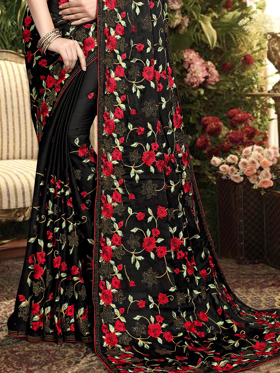 Black Satin Silk Embroidered Party Saree