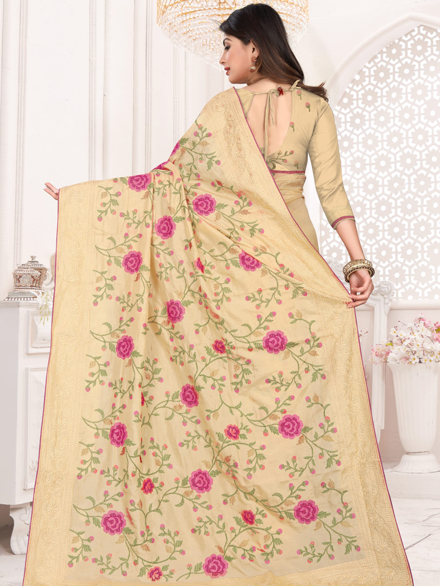 Tan Brown Silk Embroidered Festival Saree