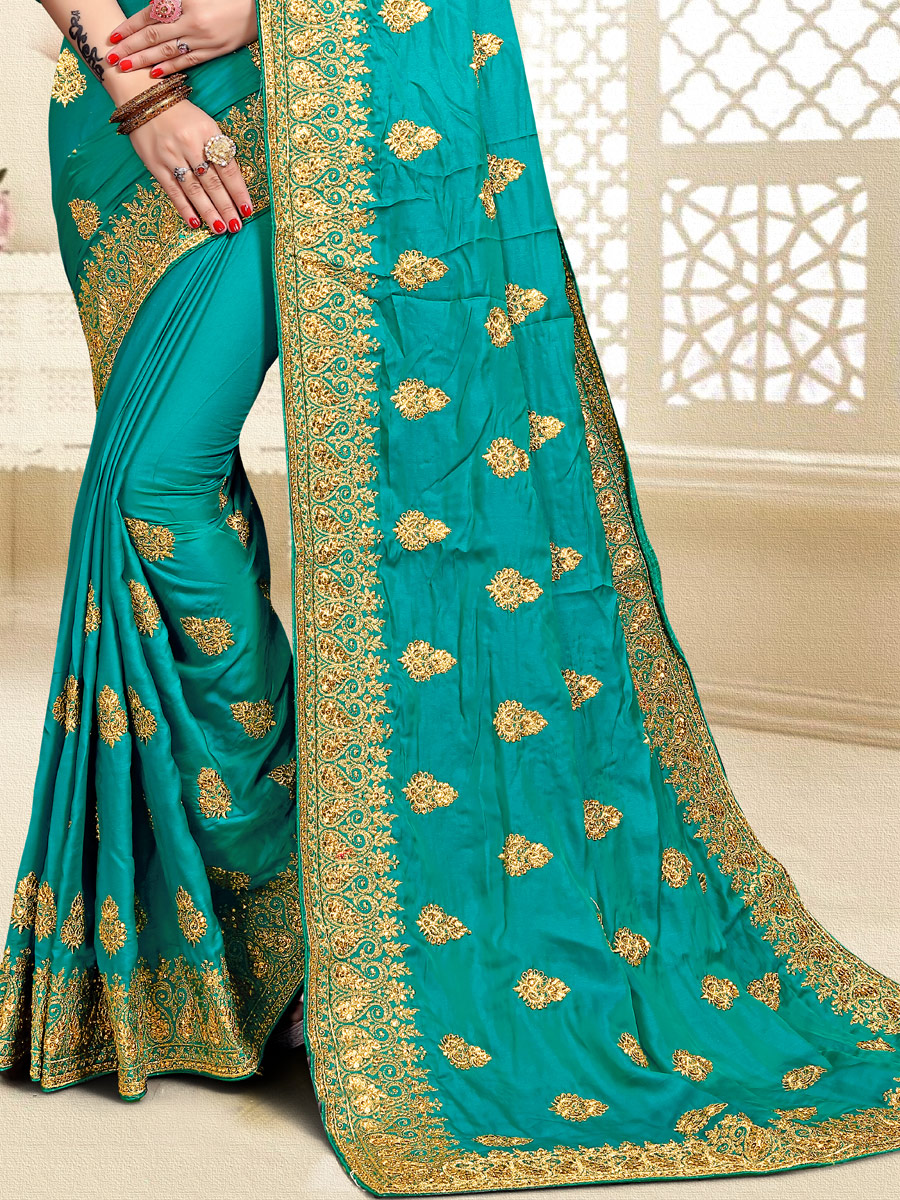 Turquoise Blue Satin Silk Embroidered Party Saree