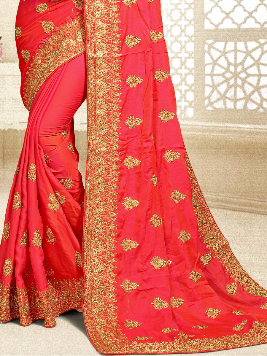 Orange-Red Satin Silk Embroidered Party Saree