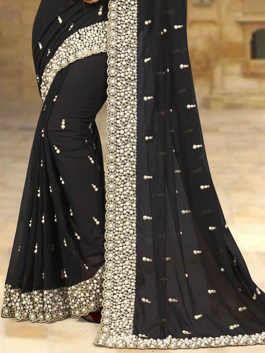 Black Faux Georgette Embroidered Party Saree