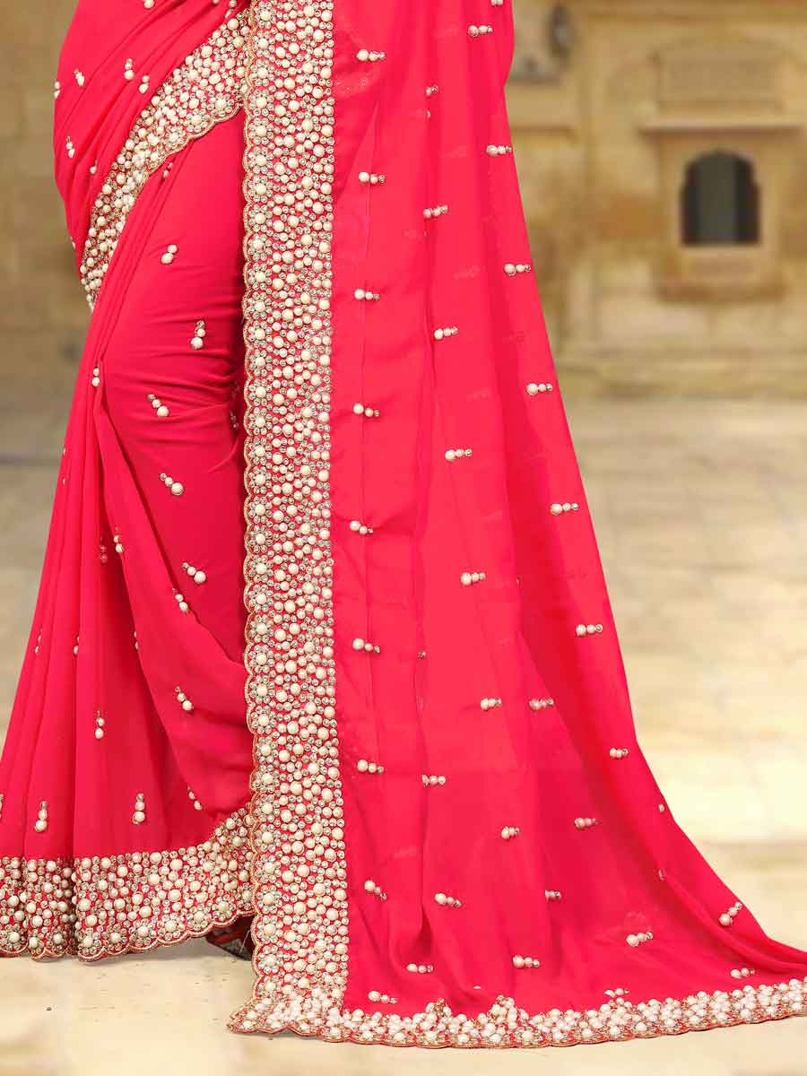 Carmine Pink Faux Georgette Embroidered Party Saree