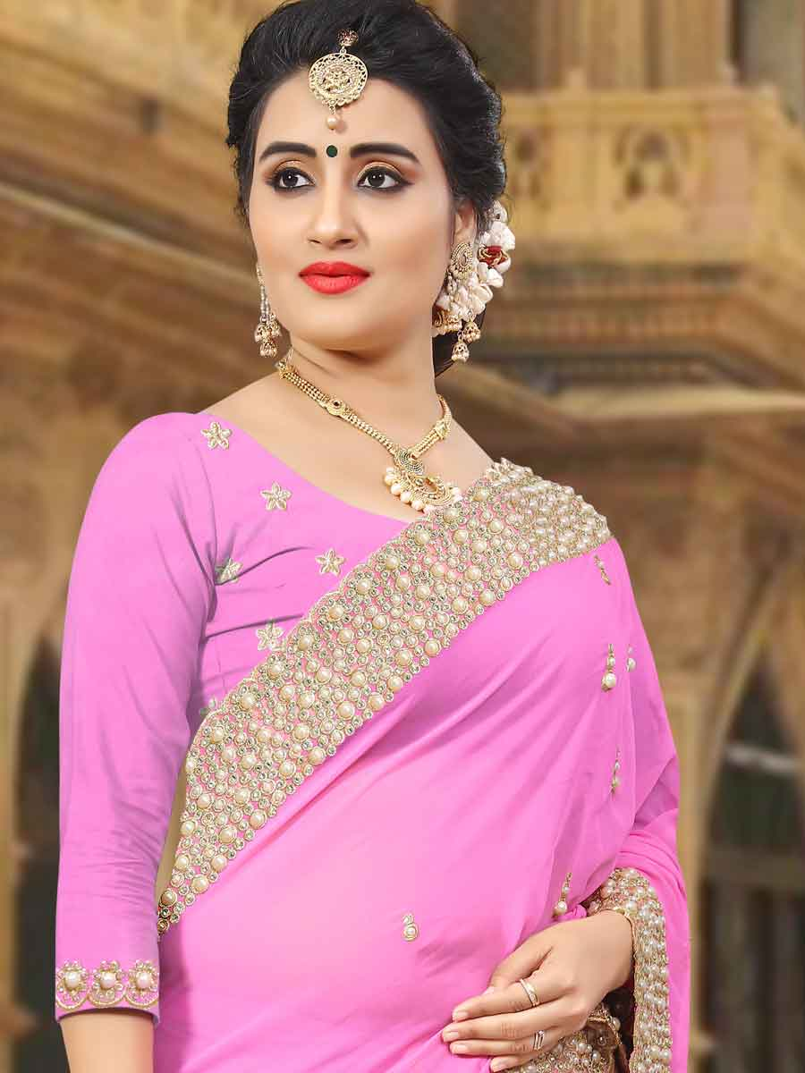 Rose Pink Faux Georgette Embroidered Party Saree