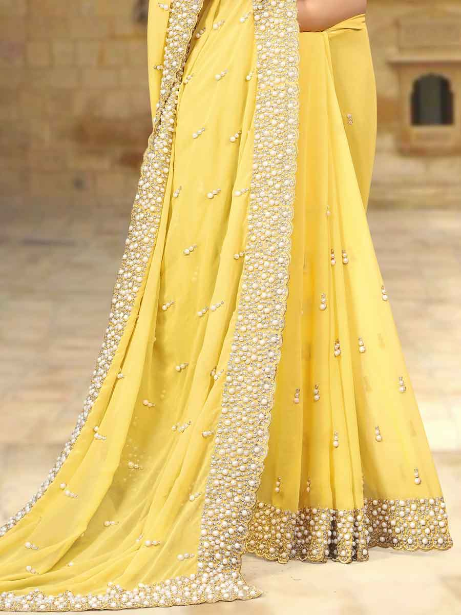 Light Yellow Faux Georgette Embroidered Party Saree