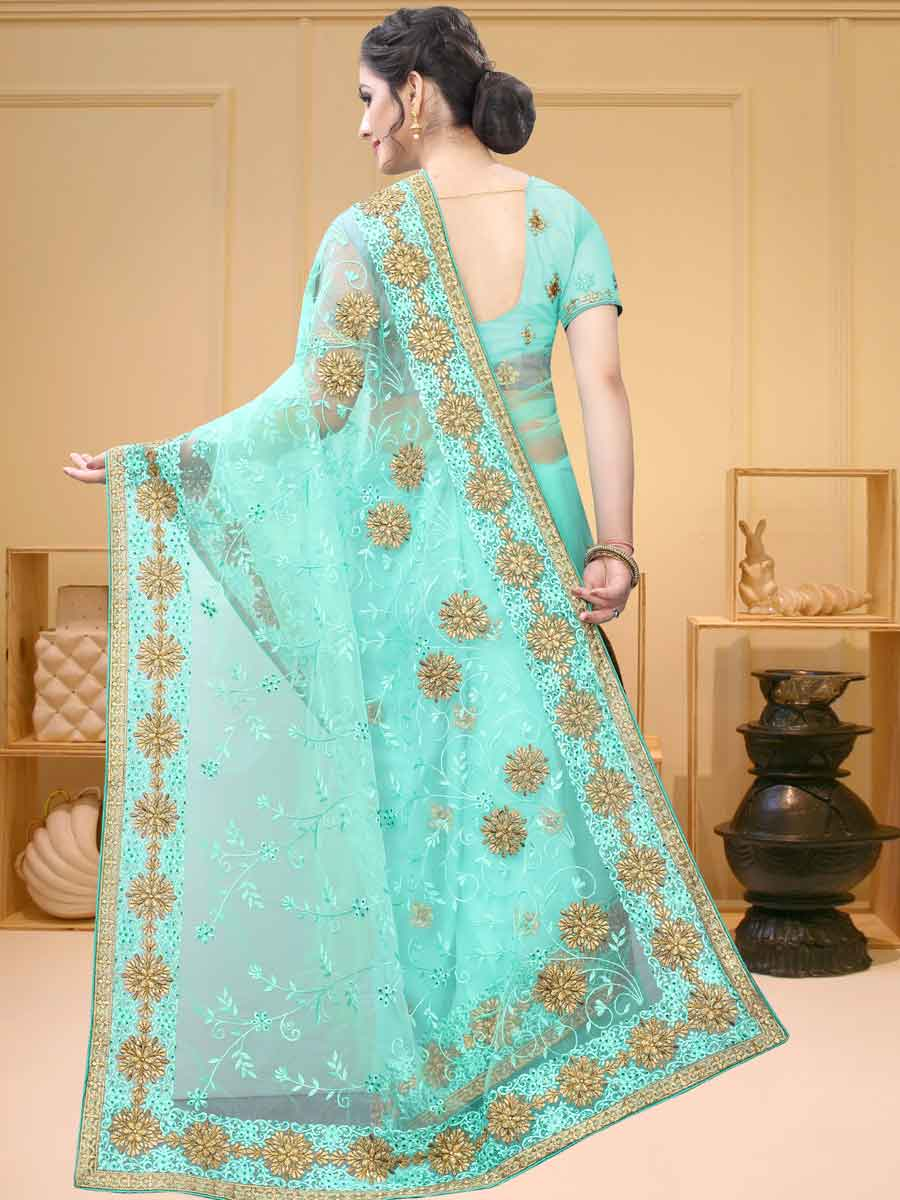 Turquoise Blue Net Embroidered Party Saree
