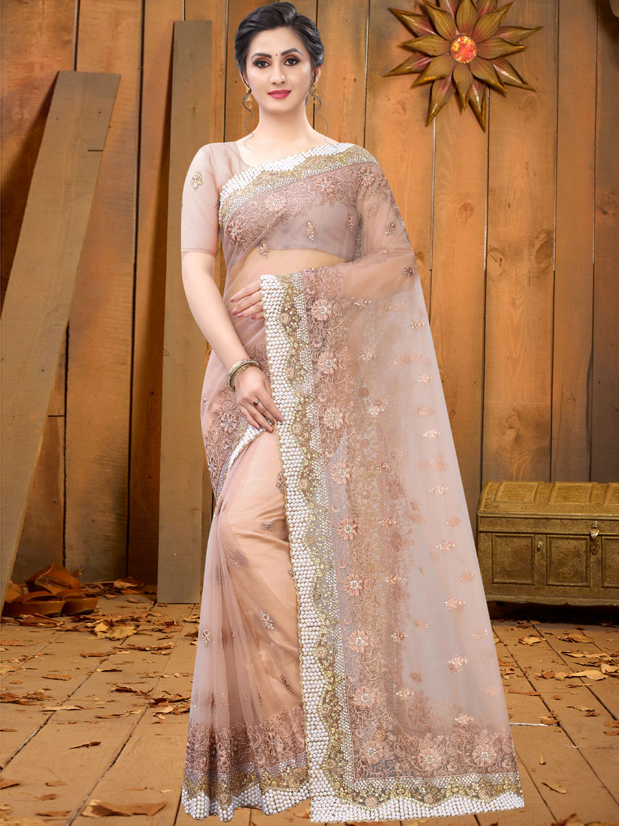 Desert Sand Brown Net Embroidered Festival Saree