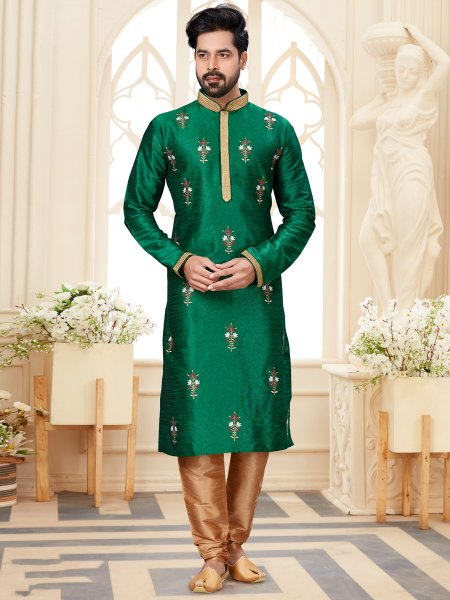 Dark Green Dupion Silk Embroidered Festival Kurta