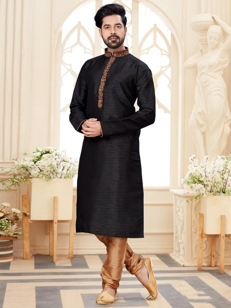 Black Dupion Silk Embroidered Festival Kurta