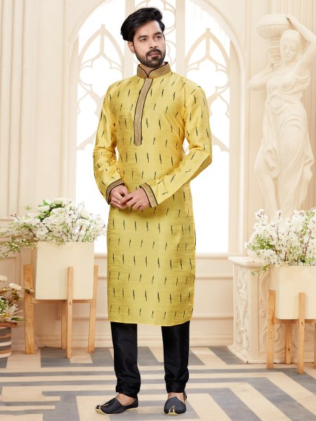 Lemon Yellow Dupion Silk Printed Festival Kurta