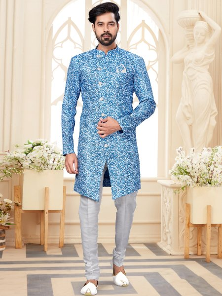Sky Blue and White Jacquard Printed Festival Sherwani