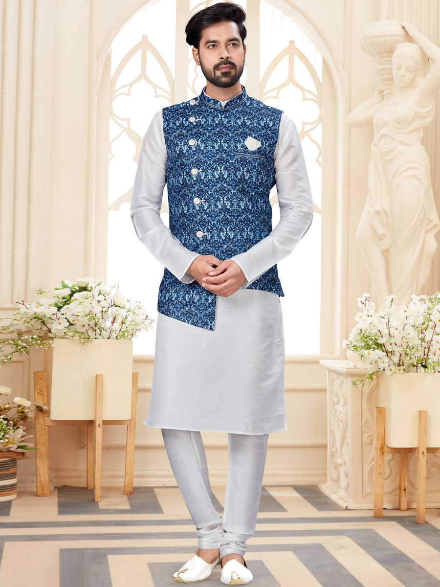 White Dupion Silk Plain Festival Kurta with Waistcoat