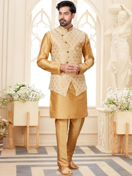 Tan Brown Dupion Silk Plain Festival Kurta with Waistcoat