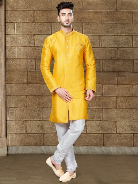 Saffron Yellow Silk Embroidered Party Indowestern Sherwani
