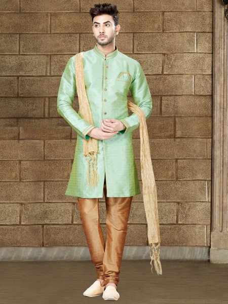 Tea Green Silk Embroidered Party Indowestern Sherwani
