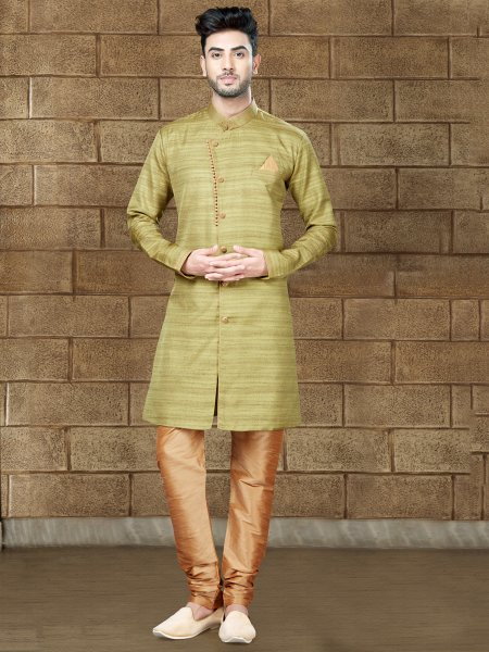Green Yellow Silk Embroidered Party Indowestern Sherwani
