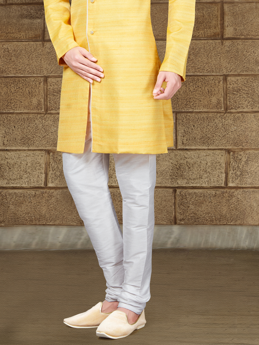 Jonquil Yellow Silk Embroidered Party Indowestern Sherwani