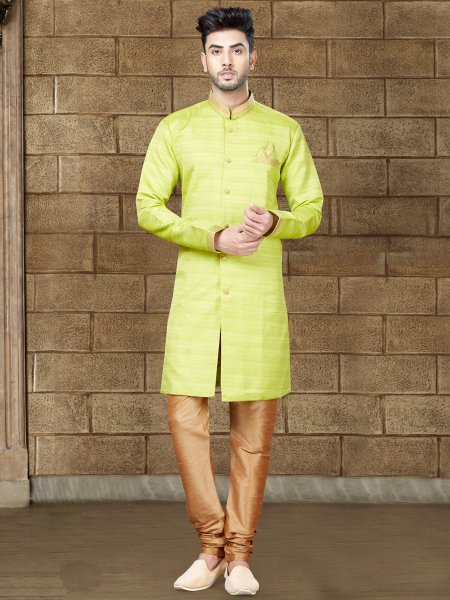 Lime Green Silk Embroidered Party Indowestern Sherwani