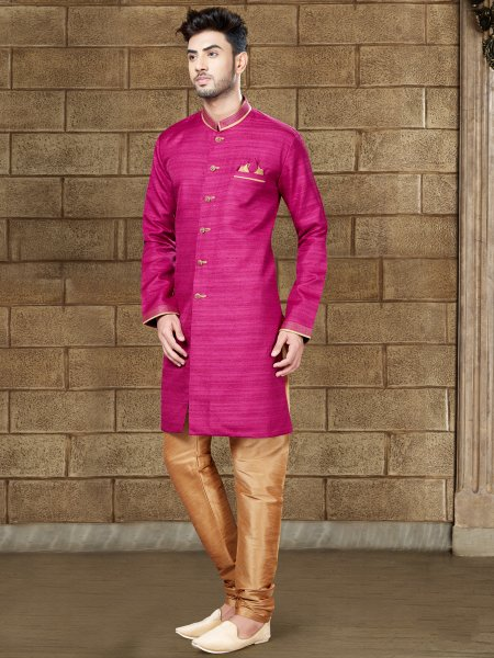 Deep Fuchsia Pink Silk Embroidered Party Indowestern Sherwani