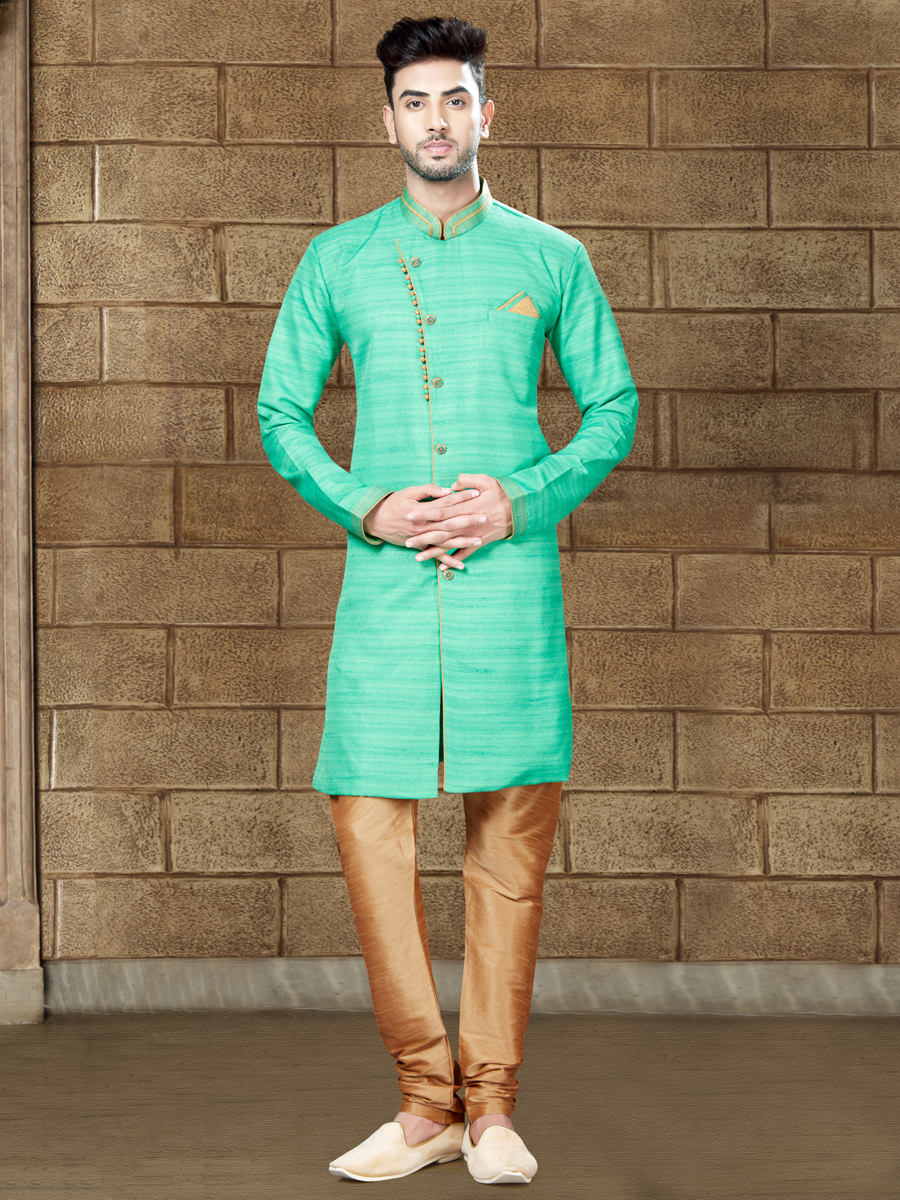 Persian Green Silk Embroidered Party Indowestern Sherwani