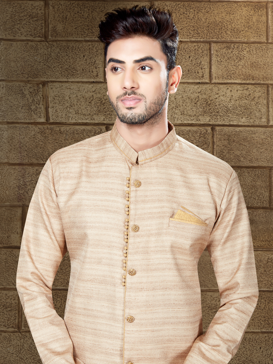 Papaya Whip Yellow Silk Embroidered Party Indowestern Sherwani