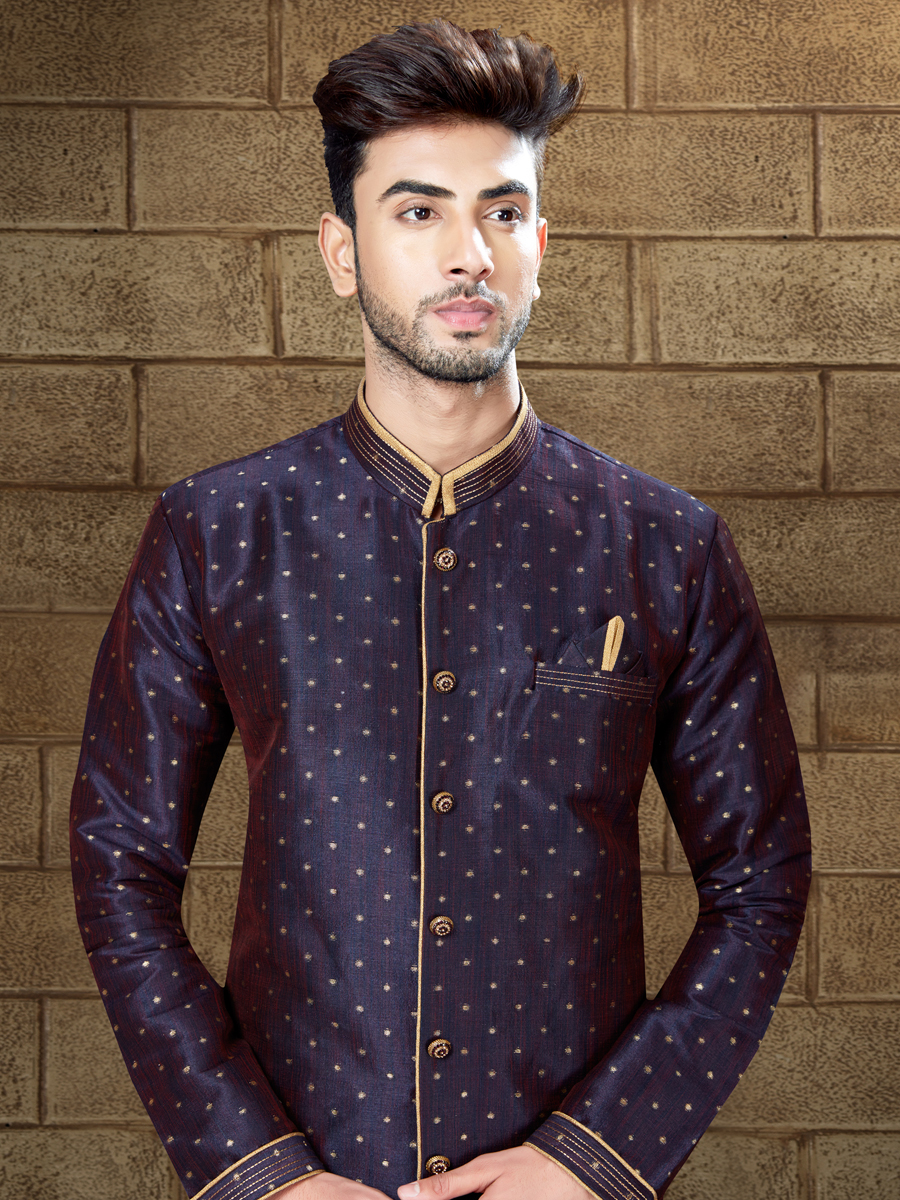 Navy Blue Silk Embroidered Party Indowestern Sherwani