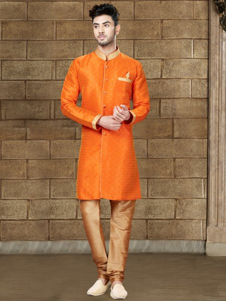 Pumpkin Orange Silk Embroidered Party Indowestern Sherwani