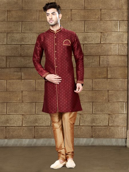 Maroon Silk Embroidered Party Indowestern Sherwani