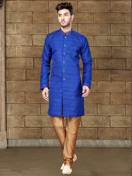 Persian Blue Silk Embroidered Party Indowestern Sherwani