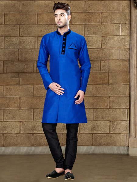 Royal Blue Silk Embroidered Party Indowestern Sherwani
