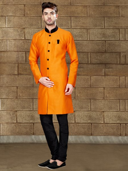Amber Yellow Silk Embroidered Party Indowestern Sherwani