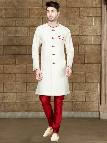 Beige Yellow Silk Embroidered Party Indowestern Sherwani