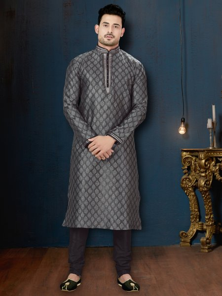 Black Jacquard Festival Embroidered Kurta