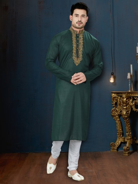 Midnight Green Cotton Festival Embroidered Kurta