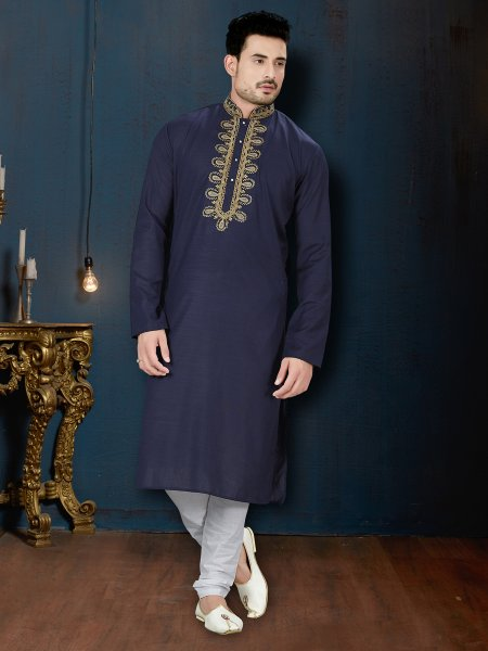 Midnight Blue Cotton Festival Embroidered Kurta
