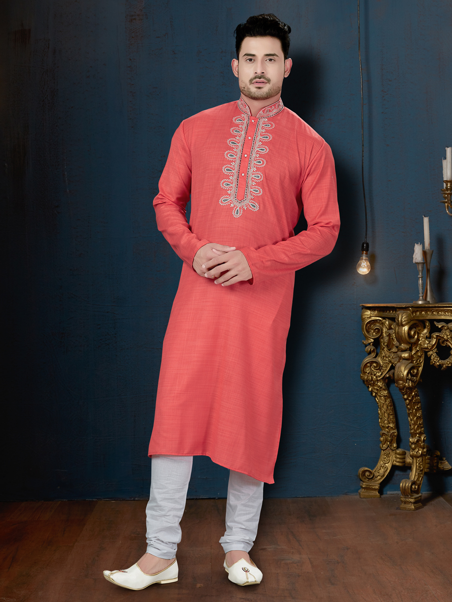 Tomato Orange Cotton Festival Embroidered Kurta