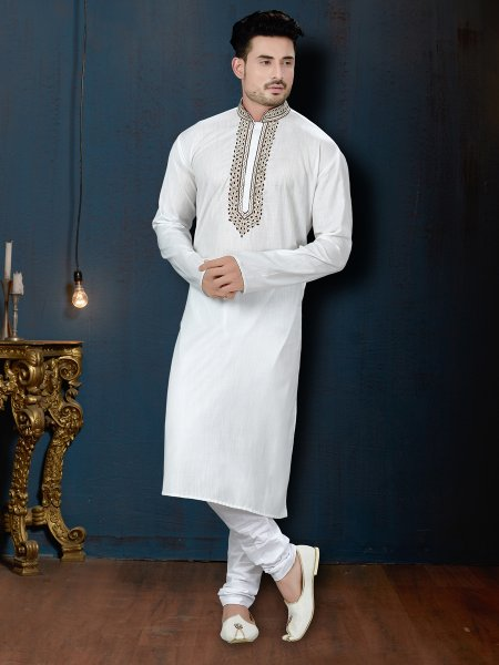 Off White Cotton Festival Embroidered Kurta