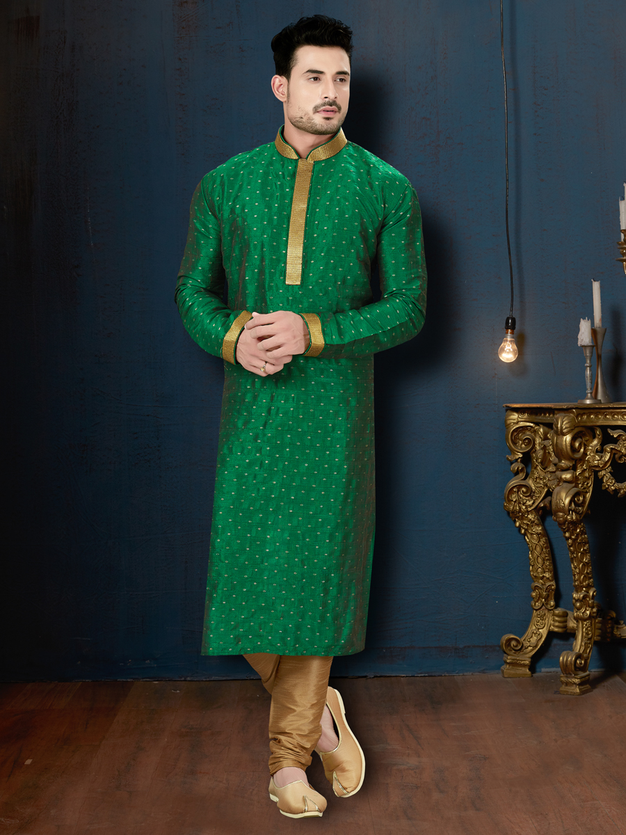 Jade Green Silk Festival Embroidered Kurta