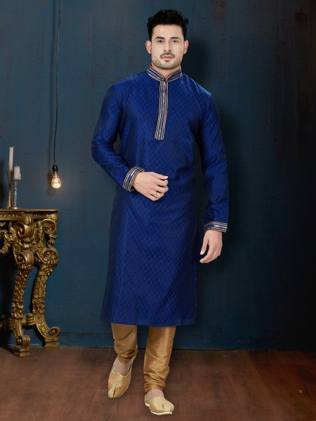 Dark Blue Jacquard Festival Embroidered Kurta