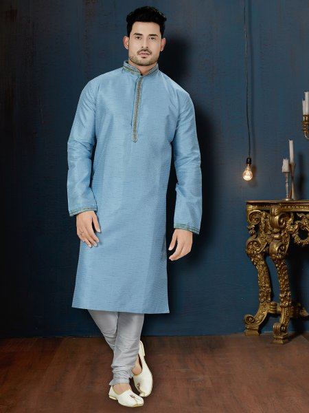 Powder Blue Jacquard Festival Embroidered Kurta