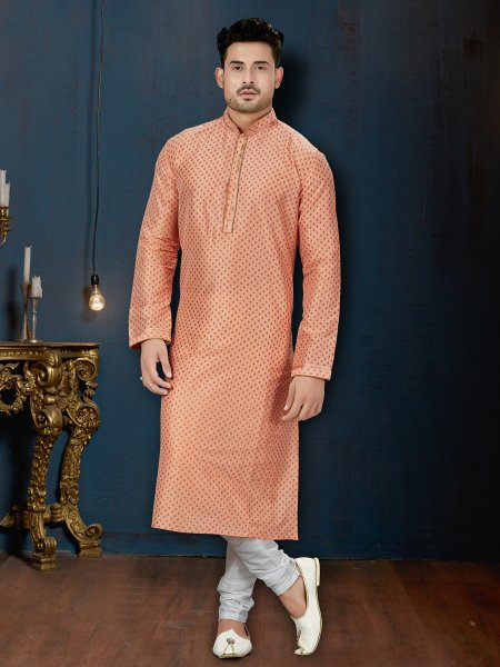 Coral Orange Dupion Silk Festival Embroidered Kurta