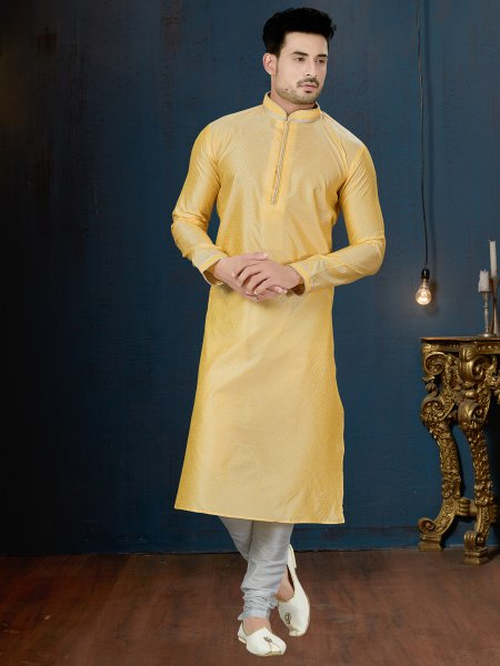 Jonquil Yellow Jacquard Festival Embroidered Kurta