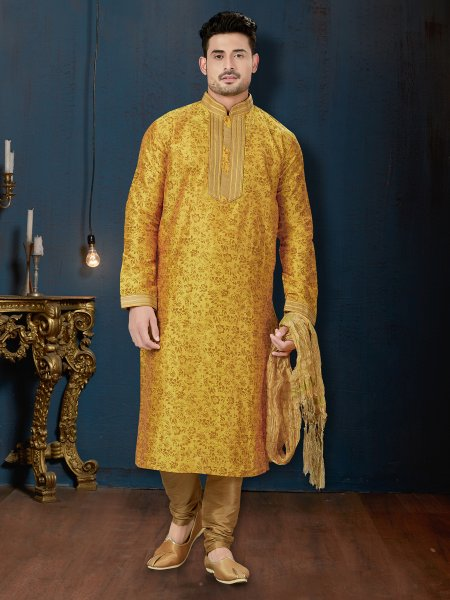Amber Yellow Dupion Silk Festival Embroidered Kurta