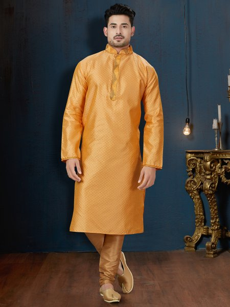 Amber Yellow Jacquard Festival Embroidered Kurta